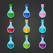 Set bottles with different potions - stock illustration