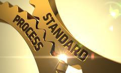 Golden Metallic Cogwheels with Standard Process Concept - stock illustration
