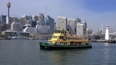 Tracking shot of Sydney Ferry, Darling Harbour in 4k Stock Footage