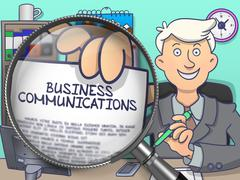 Business Communications through Magnifying Glass. Doodle Style Stock Illustration