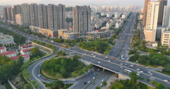 4k timelapse busy urban traffic on overpass,urban morden building,QingDao china Stock Footage