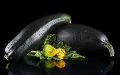 Dewed mature two courgettes with flowers on black background Stock Photos