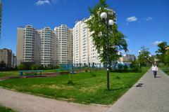 Moscow, Russia - May 13.2016.  General view of tcity of Zelenograd Stock Photos