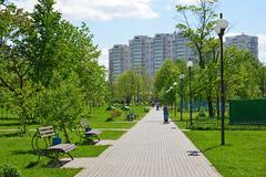 Moscow, Russia - May 13.2016.  Boulevard 20 in district of Zelenograd Stock Photos
