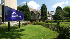Entrance to the Cadbury factory in Bourneville, Birmingham. - stock footage