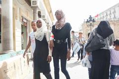 Muslim women in Tunis Stock Photos