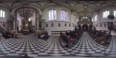 4K 360VR video, Lithuania, Vilnius, St. Anne's church interior. Stock Footage