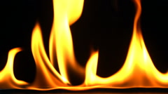 Fire flame isolated on black background, Slow motion Stock Footage