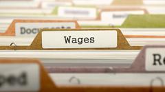 Wages Concept on Folder Register Stock Illustration