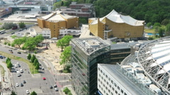 Cityscape around the Potsdamer Platz. high angle view over City. Stock Footage