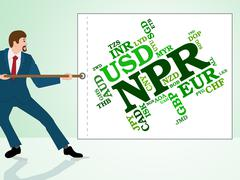 Npr Currency Shows Exchange Rate And Currencies - stock illustration