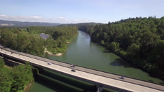Aerial of Cars Driving on Highway 522 Bridge in Monroe Washington Stock Footage