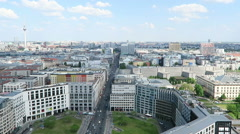 View over Berlin Mitte Cityscape around the Potsdamer Platz. - stock footage