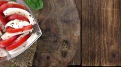 Homemade Tomato Mozzarella Salad (not loopable, 4K) Stock Footage