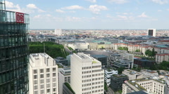 Cityscape around the Potsdamer Platz. high angle view over City. - stock footage