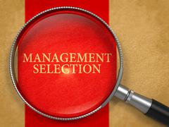 Management Selection Concept through Magnifier - stock illustration