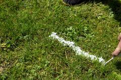 Referee spraying vanishing spray on the turf, closeup Stock Photos