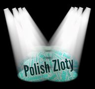 Polish Zloty Shows Exchange Rate And Currencies - stock illustration