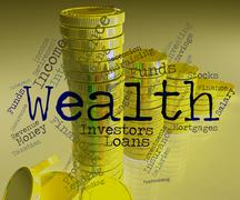 Wealth Word Represents Wealthy Prosperous And Rich - stock illustration