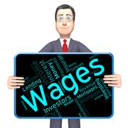 Wages Word Represents Revenue Income And Words - stock illustration