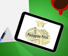 Philippine Peso Represents Exchange Rate And Broker - stock illustration