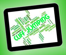Cliff Jumping Shows High Wordcloud And Words Stock Illustration