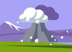 Volcano Erupting In Iceland - stock illustration