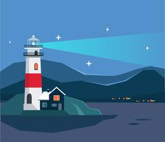 Light House Seascape Stock Illustration
