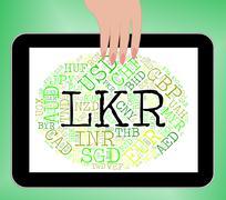 Lkr Currency Shows Sri Lanka Rupee And Banknotes - stock illustration