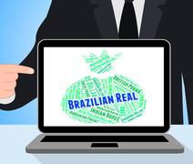 Brazilian Real Indicates Forex Trading And Broker - stock illustration