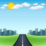 horizon road city trip - stock illustration