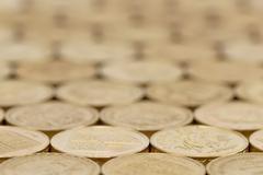 British pound coins background Stock Photos