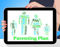 Parenting Plan Shows Mother And Child And Agenda Stock Illustration