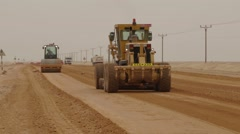 Huge Grader Levels The Soil In The Desert - stock footage