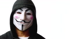 Anonymous hacker with mask talking to camera 4k Stock Footage