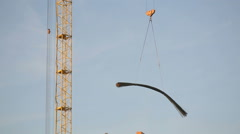 Running a yellow construction crane 1 - stock footage