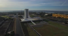 Brasilia tracking aerial of the National Congress Stock Footage