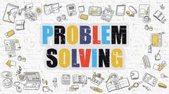 Multicolor Problem Solving on White Brickwall. Doodle Style Stock Illustration