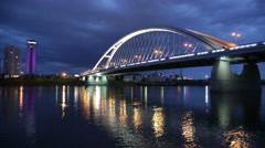 Apollo bridge over river Danube in Bratislava, Slovakia. Stock Footage