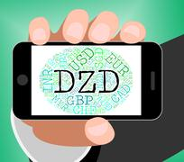 Dzd Currency Means Algerian Dinars And Banknote - stock illustration