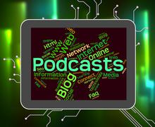 Podcast Word Represents Text Webcast And Broadcasting - stock illustration