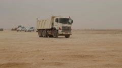 Heavy Duty Dump Trucks Work Stock Footage
