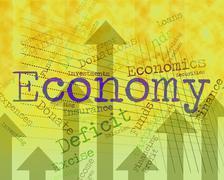 Economy Word Indicates Macro Economics And Economies - stock illustration