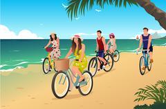 People Biking on the Beach - stock illustration