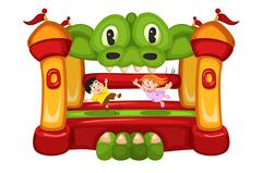 Kids Playing in a Bouncy House Stock Illustration