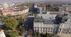 Classical architecture Art gallery aerial panning - stock footage