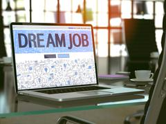 Laptop Screen with Dream Job Concept Stock Illustration