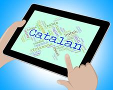 Catalan Language Means Text Catalonia And International - stock illustration