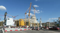 Berliner Stadtschloss rebuilding with all its crane and constructions. - stock footage