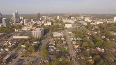 Flying over downtown Raleigh, NC on a March Morning. Arkistovideo
